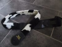 Guitar STRAP, leather and funky furry cow hide. Good condition.