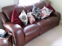 Italian Leather Sofa - Three Seater - Recliner - Excellent Condition