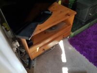 Pine wood and metal TV cabinet