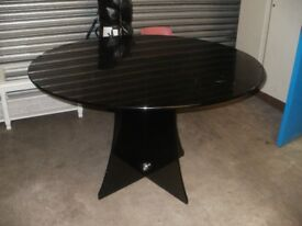 Solid Black Glass Table