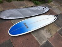 """Paul Walters Black & White Surfboard 7' 6"""" Used Only Once"""