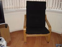 "Chairs, 2 Black Ikea ""Poang "" Chairs"