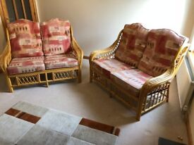 Cane Suite, two 2 seater settees