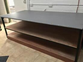 Heavy duty plywood and steel frame workbenches