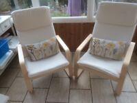 2 Ikea Cream Canvass Chairs