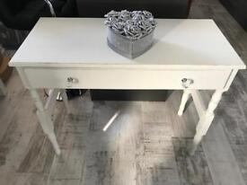 White shabby chic hall table with crystal handles