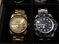 2 automatic movement watches steel bagelsport and parnis