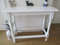 SOLID OAK CONSOLE TABLE PAINTED LAURA ASHLEY COUNTRY WHITE