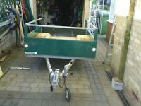 steel bodied trailer 7x 4ft6ins led lights 10in wheels suit quad or motor bikes