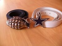 2x Belt Buckles - Grenade and Star Style - Black White Blue - Size Max 34 - Metal - Removable Buckle