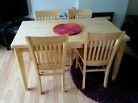 light oak table & 4 chairs