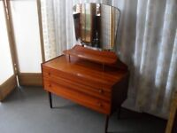VINTAGE RETRO TEAK TWO DRAWER DRESSING TABLE WITH MIRROR AND LEDGE FREE DELIVERY