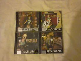 Tomb Raider 1, 2, 3 & Last Revelation Sony PS1 Games Bundle