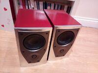 Mission M71i custom metallic red /silver speakers @ hifi loud pair front chrome