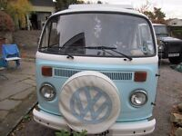1976 VW Campervan 2 berth, 2 months MOT, pop up hood, chassis refurbished in 2015