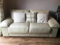 Leather 3 seater sofa - Cream