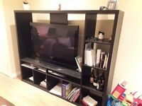 Black ikea tv unit with shelving