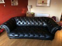 Black leather Tetrad Sofa for sale