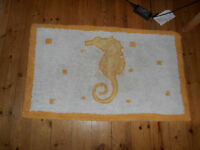 Bathroom mat - Greek made Seahorse design white with yellow colour