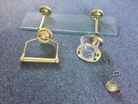 Gold/brass bathroom toilet glass shelf cup holder loo roll