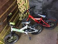 "2 boys 14""wheels bikes £5 for both"