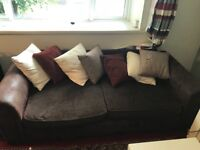 Sofa - 3 seats. Brown fabric and suede