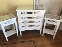 White mirrored Bedroom furniture set - Chest of Drawers + Set of bedside tables