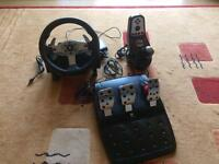 Logitech G25 racing steering wheel, pedals and gearstick