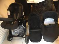 Baby travel system - car seat, stroller, pram, isofix base £150