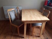 Dinner table and 4 chairs (light wood)