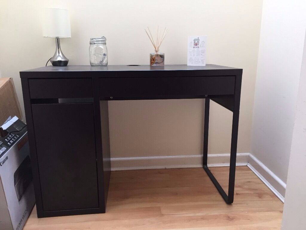 For sale ikea micke black brown desk with faux leather - Black days ikea ...