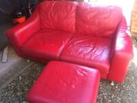 red leather 2seater sofa& foot stoole