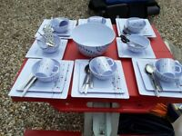 Melamine canping 6 settings dinner set with 6 settings steel cutlery plus