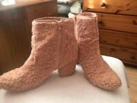 Primark pink fluffy boots, size 8
