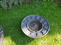 Two pond liners one 65in approx the second is apprix 24in in diameter large one now sold