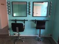 Mirrors and shelves used for hairdressing hairdresser make up artist