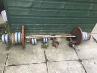 Selection of barbells, dumbbells and plates
