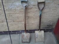 Work shovels for sale five pound each suitable for heavy duty ground work and all garden work etc et