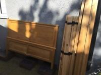 """Strong solid Oak double bed frame, 4ft 6"""", Excellent condition with 1 bedside oak cabinet"""