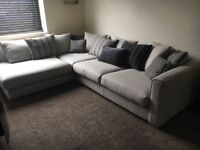 DFS large corner sofa and stool - perfect condition 1 year old