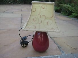 Red Coloured Glass Table Lamp with Cream Patterned Lampshade
