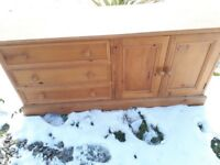 Solid pine tv/entertainment unit or sideboard. Used but good solid condition.