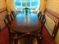 Dark Hardwood Extending Dining Table And Chairs Excellent Condition