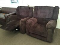 2 pre owned recliner armchairs in brown fabric