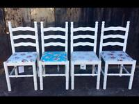 Set of four shabby chic dining chairs