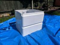 SLIGHTLY DAMAGED White double drawer sink unit (wall hung)