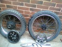 motorbike front & rear wheels with pirelli used tyres £50.00