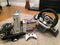 Xbox 360, Kinect Console, Racing wheel and 13 games - Excellent condition