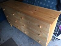 Beautiful and homely varnished rustic wooden chest of drawers (Ikea Tarva)