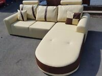 Fabulous BRAND NEW cream and brown leather corner sofa .Modern design.can deliver
